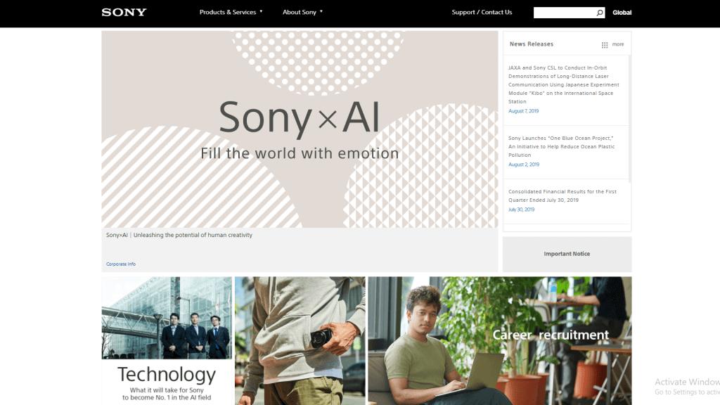 海外で評価されている製造業のグローバルサイト10選_日本企業編_sony
