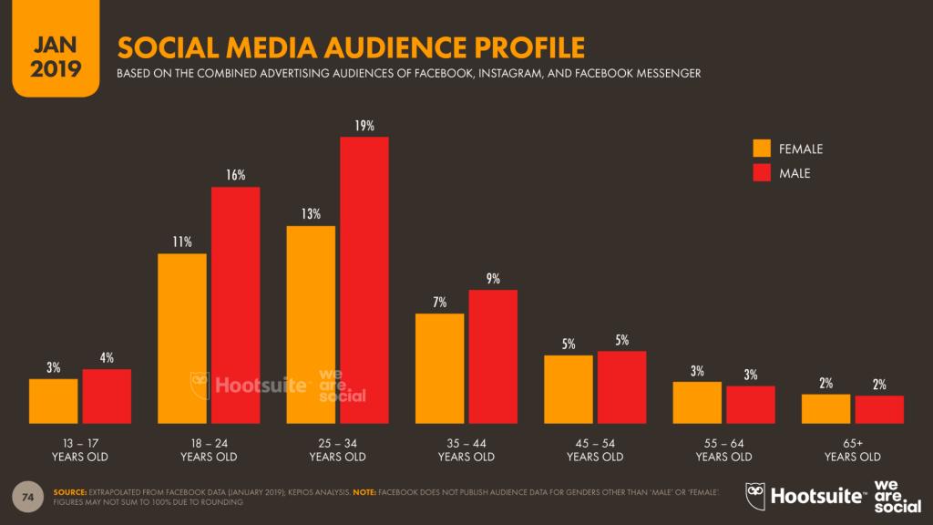 「2019年を総括!」世界のデジタル事情、要注目ポイント-世界におけるソーシャルメディア利用者の年齢割合