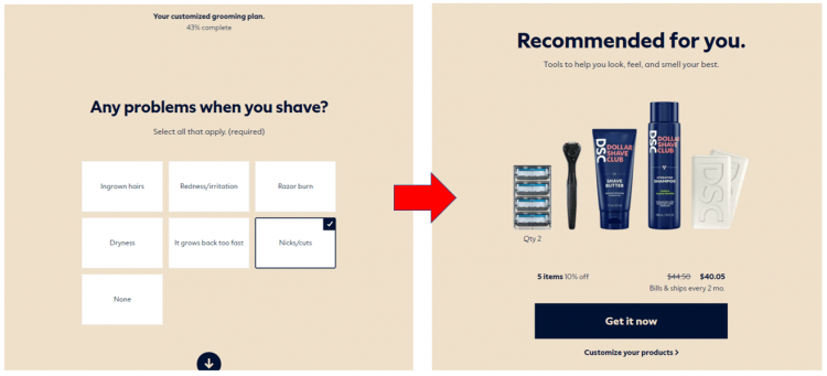 Dollar Shave Club ウェブサイト