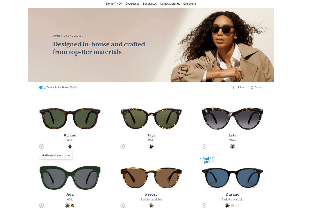 Warby Parkerウェブサイト
