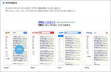 Daumリスティング広告の表示画面(プレミアムリンク)