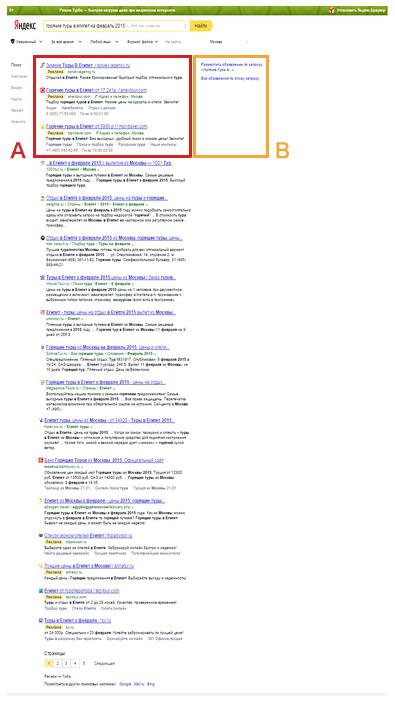 Yandexリスティング広告の表示パターン